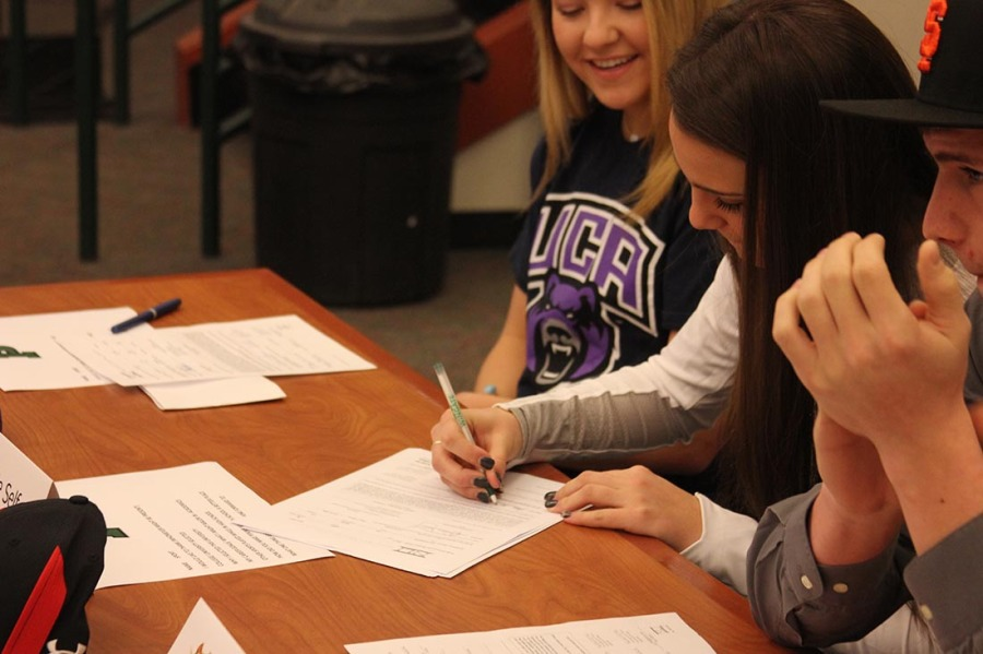 Soccer Player Josie Self signing letter of intent to Eastern Washington University.
