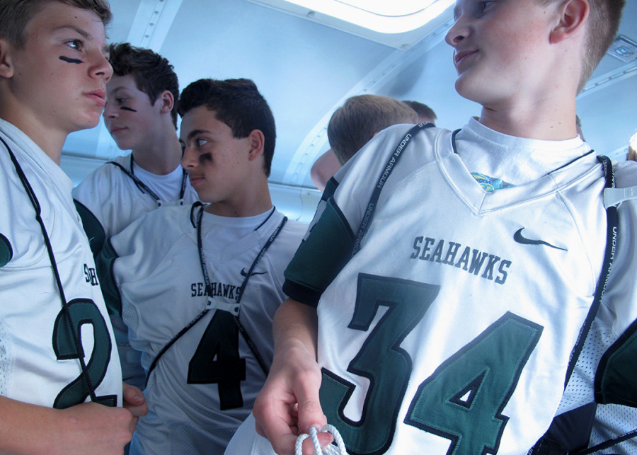 The C-Team prepares to exit the bus before Guppy Bowl. (Pictured left to right: Evan Eudy, Keilan Shrewsberry, Kennon Chaney, Matthew Turnbull)