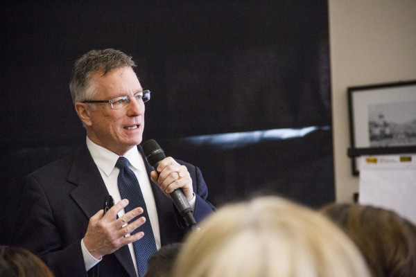 Managing Editor, Meghan Laakso, captures the excitement of new superintendent, Dr. Rob Manahan.