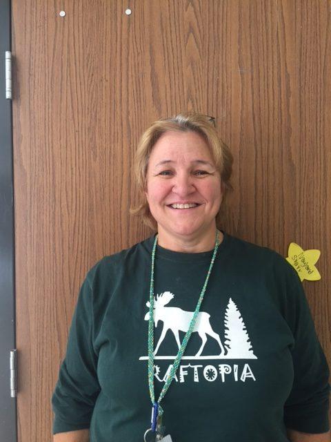 Mrs. Raft wearing her custom Raftopia shirt.