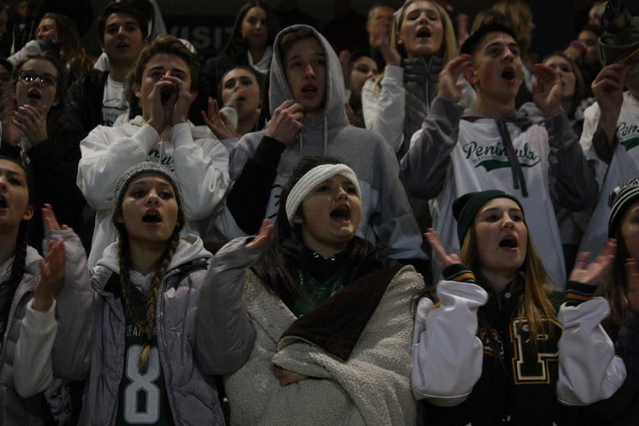 Cheering on the football team.