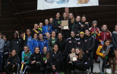 The cross country girls win first at leagues.