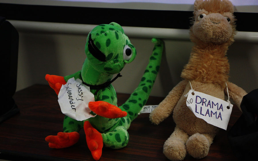 Sassy salamander and Drama Llama usually found on Grace Lewis's desk