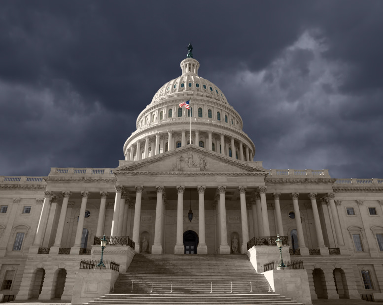 Free image of the government shutdown, Washington DC capitol in a storm