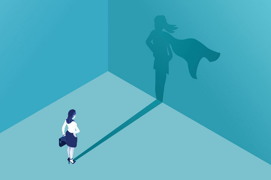 Businesswoman+with+superhero+shadow+vector+concept.+Isometric+Eps10+vector+illustration.+Business+symbol+of+emancipation+ambition+success+motivation+leadership+courage+and+challenge.