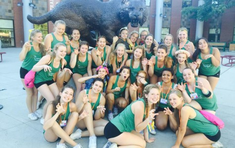 The happy cheer team poses at State.