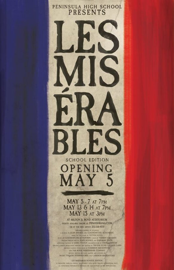 Poster advertising the spring musical, Les Miserables.