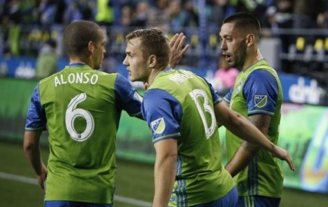 Clint Dempsey, Jordan Morris, and Osvaldo Alonso in the game against Montreal.