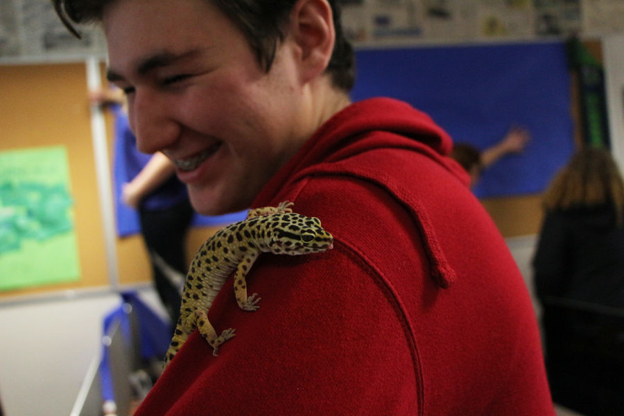 Our sports editor with our class pet.