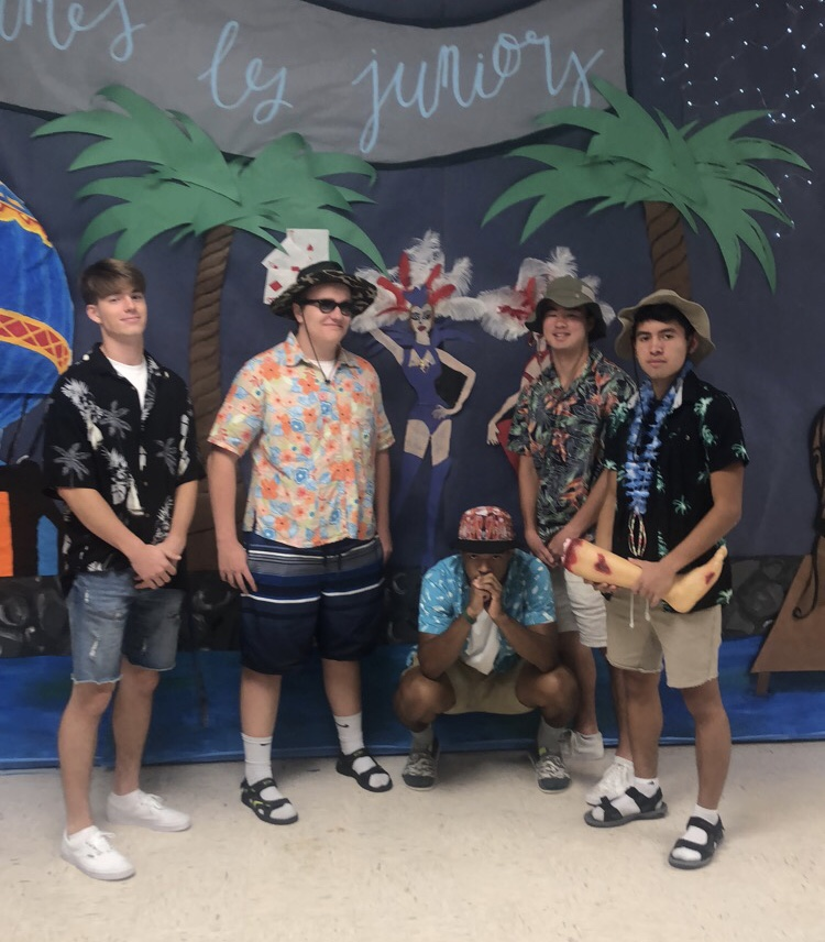 PHS boys dressed up for tropical Tuesday