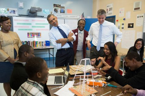 President Barack Obama and Education Secretary Arne Duncan visit a classroom at the Pathways in Technology Early College High School (P-TECH) in Brooklyn, New York, Oct. 25, 2013. (Official White House Photo by Pete Souza)   This official White House photograph is being made available only for publication by news organizations and/or for personal use printing by the subject(s) of the photograph. The photograph may not be manipulated in any way and may not be used in commercial or political materials, advertisements, emails, products, promotions that in any way suggests approval or endorsement of the President, the First Family, or the White House.